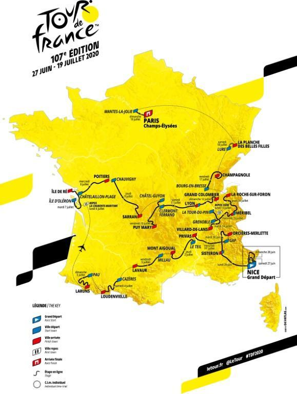 The map of the official route of the 2020 edition of the Tour de France (AFP Photo/-)