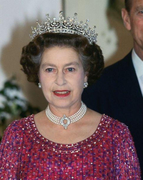 PHOTO: Queen Elizabeth II wears a four strand diamond and pearl choker with 'Granny's Tiara' to an engagement in Bangladesh, Nov. 16, 1983. (Tim Graham/Getty Images)