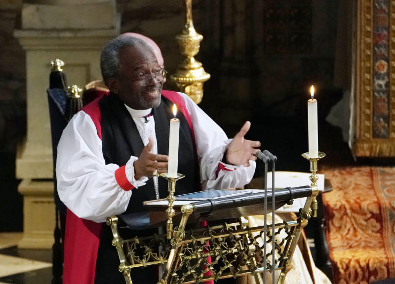 "Michael Curry, the first black presiding bishop of the Episcopal Church in the U.S., delivered a spirited sermon that <a href=""https://www.huffingtonpost.com/entry/michael-curry-royal-wedding-sermon_us_5b000b1ce4b07309e0585911"" target=""_blank"">cited Martin Luther King Jr.</a> (WPA Pool via Getty Images)"
