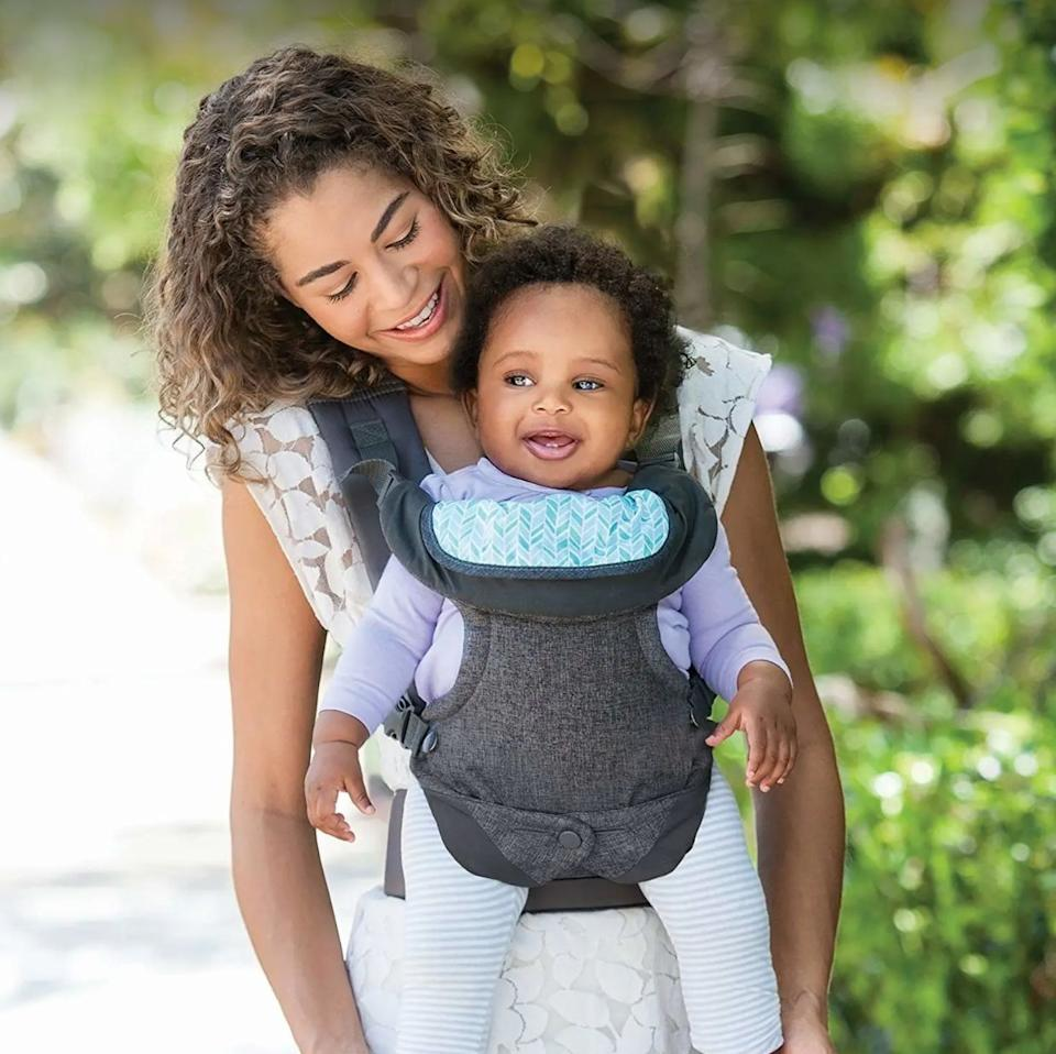 """Take your mini-me on errands with you and have a free hand whenever you need to grab your wallet, phone or keys. It's also helpful if they need a break from the stroller!<br /><br /><strong>Promising review:</strong>""""I bought this for my 10-month-old son (currently 25 pounds at 12 months) when we went to Washington D.C. and would highly recommend for anyone traveling with a little one.<strong>He would get tired of the stroller and would want to be held, there were also times where I wanted him up close with me and not in the stroller. He was very happy and comfortable in this.</strong>I have only used the frontal position, facing me so far, I have yet to try any of the other three — but its a great product and he loves it."""" —<a href=""""https://amzn.to/33AIcmt"""" target=""""_blank"""" rel=""""nofollow noopener noreferrer"""" data-skimlinks-tracking=""""5189597"""" data-vars-affiliate=""""Amazon"""" data-vars-href=""""https://www.amazon.com/gp/customer-reviews/RGPV52GUO4OAG?tag=bfheather-20&ascsubtag=5189597%2C24%2C44%2Cmobile_web%2C0%2C0%2C160729"""" data-vars-keywords=""""cleaning,fast fashion"""" data-vars-link-id=""""160729"""" data-vars-price="""""""" data-vars-product-id=""""15936648"""" data-vars-retailers=""""Amazon"""">Amazon Customer<br /><br /></a><a href=""""https://amzn.to/3w66JMr"""" target=""""_blank"""" rel=""""noopener noreferrer""""><strong>Get it from Amazon for $26.95.</strong></a>"""