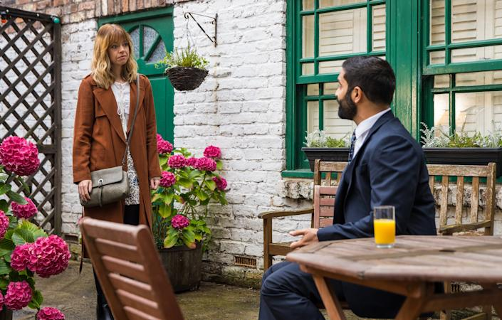 FROM ITV  STRICT EMBARGO - No Use Before  Tuesday 21st September  2021  Coronation Street - Ep 10445  Friday 1st October 2021 - 2nd Ep   Imran Habeeb [CHARLIE DE MELO] tells Toyah Battersby [GEORGIA TAYLOR] that he spent the night of the trial at Sabeen's house but nothing happened.   Picture contact David.crook@itv.com  Photographer Danielle Baguley  This photograph is (C) ITV Plc and can only be reproduced for editorial purposes directly in connection with the programme or event mentioned above, or ITV plc. Once made available by ITV plc Picture Desk, this photograph can be reproduced once only up until the transmission [TX] date and no reproduction fee will be charged. Any subsequent usage may incur a fee. This photograph must not be manipulated [excluding basic cropping] in a manner which alters the visual appearance of the person photographed deemed detrimental or inappropriate by ITV plc Picture Desk. This photograph must not be syndicated to any other company, publication or website, or permanently archived, without the express written permission of ITV Picture Desk. Full Terms and conditions are available on  www.itv.com/presscentre/itvpictures/terms