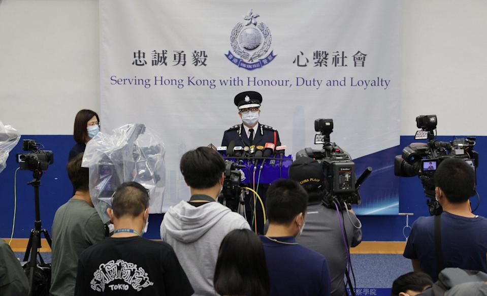 Commissioner of Police Chris Tang speaks to the media after a passing-out parade at Hong Kong Police College in Wong Chuk Hang. Photo: May Tse