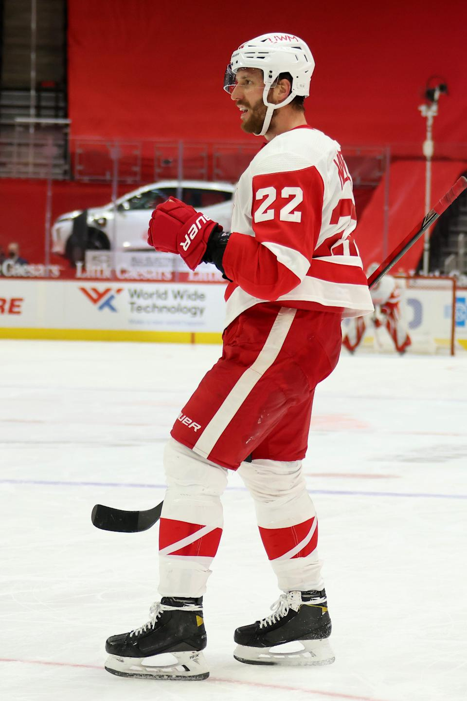Red Wings defenseman Patrik Nemeth celebrates his goal while in the second period of the Wings' 2-1 win on Saturday, Feb. 20, 2021, at Little Caesars Arena.