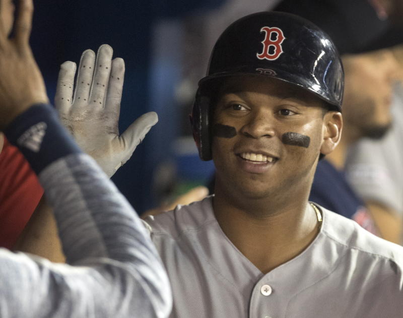Devers HRs twice, drives in 6 as Red Sox beat Blue Jays 10-6