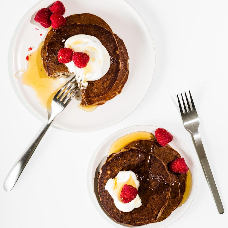 """These pancakes are lighter than those in your standard stack: slender and slightly crisp on the outside, light and lacy with assertive raspberry flavor. You'll want a mile-high pile. <a href=""""https://www.epicurious.com/recipes/food/views/fresh-raspberry-quinoa-pancakes-56389608?mbid=synd_yahoo_rss"""">See recipe.</a>"""