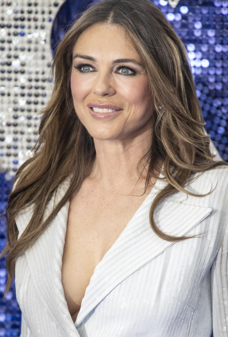 """LONDON, UNITED KINGDOM - 2019/05/20: Elizabeth Hurley attends the """"Rocketman"""" UK premiere at Odeon Leicester Square. (Photo by Gary Mitchell/SOPA Images/LightRocket via Getty Images)"""