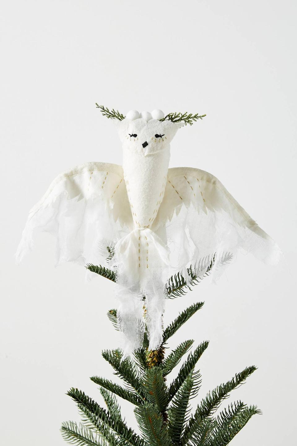 """<p>The <a href=""""https://www.popsugar.com/buy/Fauna-Lune-Snowy-Owl-Tree-Topper-490481?p_name=Fauna%20Lune%20Snowy%20Owl%20Tree%20Topper&retailer=anthropologie.com&pid=490481&price=58&evar1=casa%3Aus&evar9=46615300&evar98=https%3A%2F%2Fwww.popsugar.com%2Fhome%2Fphoto-gallery%2F46615300%2Fimage%2F46615351%2FFauna-Lune-Snowy-Owl-Tree-Topper&list1=shopping%2Canthropologie%2Choliday%2Cchristmas%2Cchristmas%20decorations%2Choliday%20decor%2Chome%20shopping&prop13=mobile&pdata=1"""" rel=""""nofollow noopener"""" class=""""link rapid-noclick-resp"""" target=""""_blank"""" data-ylk=""""slk:Fauna Lune Snowy Owl Tree Topper"""">Fauna Lune Snowy Owl Tree Topper</a> ($58) is perfect for an all-white decorated tree. </p>"""
