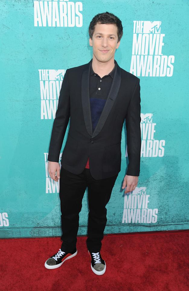 Andy Samberg arrives at the 2012 MTV Movie Awards.