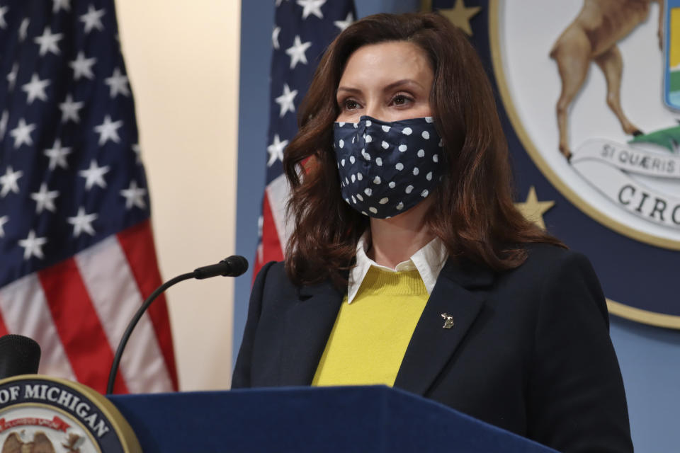 Gov. Gretchen Whitmer addresses the state during a speech in Lansing, Mich., on Feb. 4, 2021. Michigan's health department lifted a monthslong ban on contact sports that was ordered to help curb rising coronavirus cases. (Michigan Office of the Governor via AP)