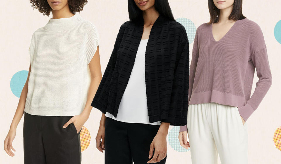 Save up to 65 percent on irresistible Eileen Fisher knits. (Photo: Nordstrom Rack)