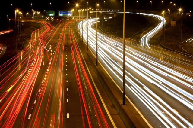 PLEASE NOTE: LONG EXPOSURE EFFECT WAS USEDA view of the traffic moving around the Darenth Interchange on the M25 motorway near Dartford in Kent.