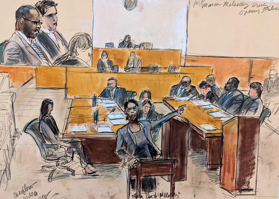 In this courtroom artist's sketch made from a video screen monitor of a Brooklyn courtroom, defendant R. Kelly (top left) listens as Assistant U.S. Attorney Maria Melendez (center) makes opening arguments on Aug. 18, 2021, in New York.