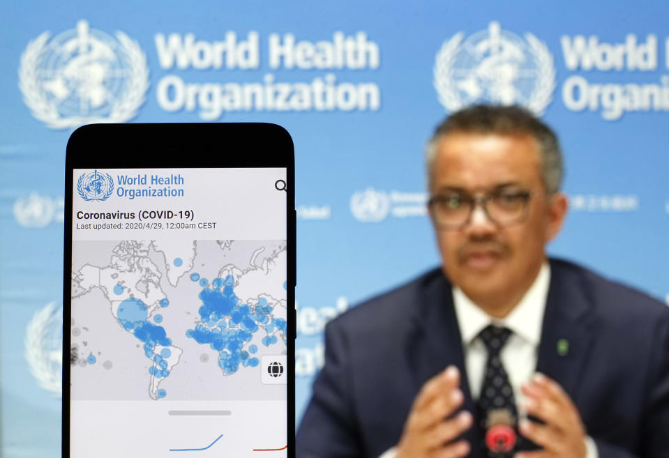 In this photo illustration the World Health Organization (WHO) Director General Tedros Adhanom Ghebreyesus is seen on a screen of pc and a WHO coronavirus cases map displayed. The number of the COVID-19 coronavirus confirmed cases in the United States exceeded one million and exceeded three million in the world, according of COVID-19 Dashboard by the Center for Systems Science and Engineering (CSSE) at Johns Hopkins University (JHU). The World Health Organization declared the coronavirus a global pandemic on 11 March 2020. (Photo by Pavlo Gonchar / SOPA Images/Sipa USA)