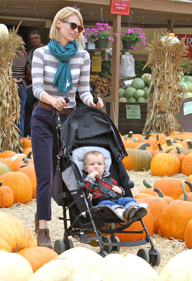 "Considering he was only 6 weeks old last Halloween, January Jones' son, Xander, probably didn't get to enjoy much of it. This year, however, he got to make a trip to Underwood Family Farms Pumpkin Patch in Moorpark, California, with his ""Mad Men"" actress mom for some fall fun. (10/20/2012)"