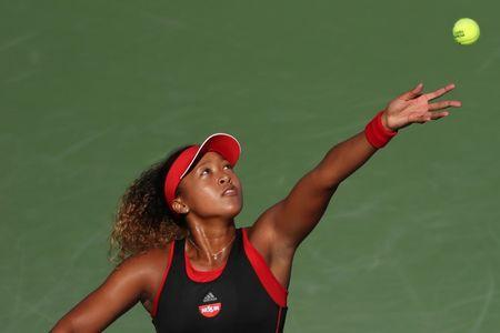 Mar 21, 2018; Key Biscayne, FL, USA; Naomi Osaka of Japan serves against Serena Williams of the United States (not pictured) on day two of the Miami Open at Tennis Center at Crandon Park. Osaka won 6-3, 6-2. Mandatory Credit: Geoff Burke-USA TODAY Sports