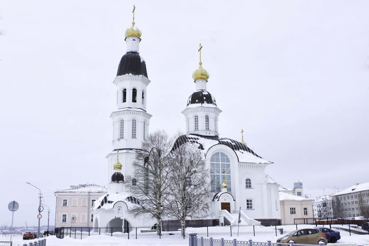 North Pole Cathedral, or Church of the Dormition 1742, covered in snow in Arkhangelsk, Russia.