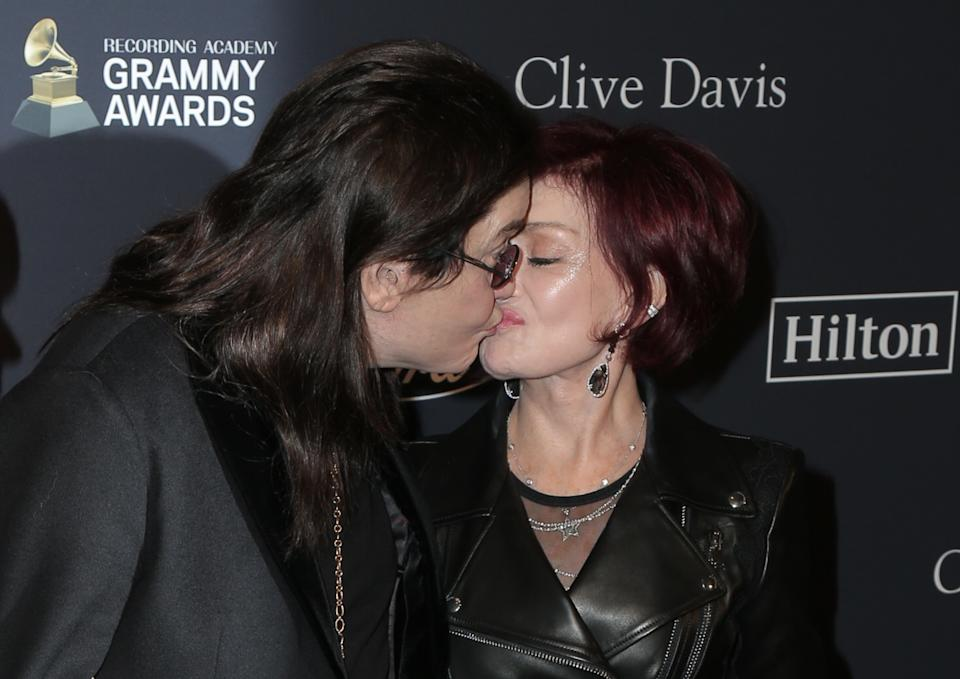Ozzy Osbourne, Sharon Osbourne walking the red carpet at the Clive Davis' 2020 Pre-Grammy Gala held at The Beverly Hilton Hotel on January 25, 2020 in Los Angeles, California USA (Photo by Parisa Afsahi/Sipa USA)