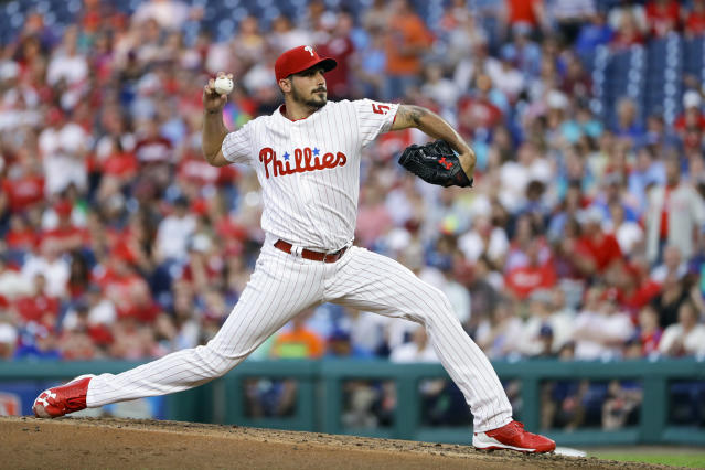 Philadelphia Phillies' Zach Eflin pitches during the third inning of a baseball game against the Toronto Blue Jays, Friday, May 25, 2018, in Philadelphia. (AP Photo/Matt Slocum)