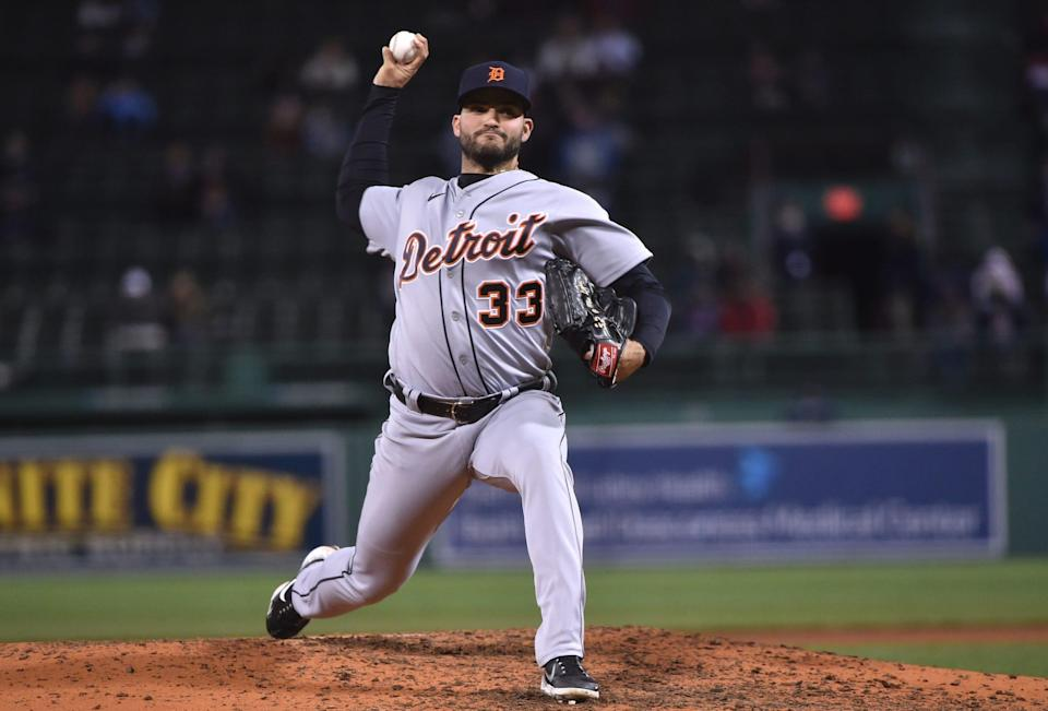 Tigers pitcher Bryan Garcia throws during the fourth inning of the Tigers' 11-7 loss on Tuesday, May 4, 2021, in Boston.