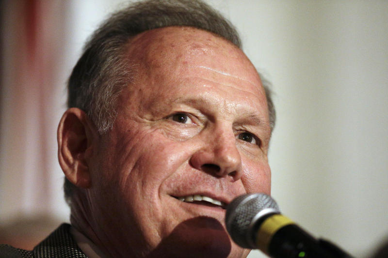 FILE - In this Sept. 26, 2017, file photo, former Alabama Chief Justice and U.S. Senate candidate Roy Moore speaks during his election party in Montgomery, Ala. is party suddenly and bitingly divided, Moore emphatically rejected increasing pressure to abandon his Senate bid on Friday, Nov. 10, as fears grew among GOP leaders that a once-safe Senate seat was in jeopardy just a month before a special election. (AP Photo/Brynn Anderson, File)