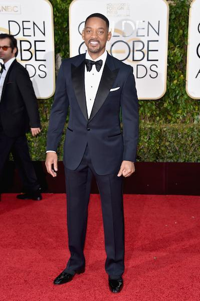 Will Smith in a Tom Ford navy blue tuxedo at the 73rd Golden Globe Awards.