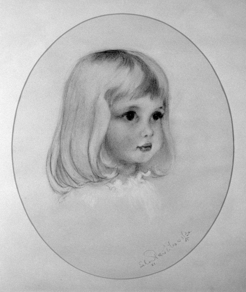 """<p>This sweet drawing shows little Lady Diana in November 1965, drawn by society artist <a href=""""https://www.harpersbazaar.com/uk/culture/culture-news/a27778582/the-childhood-home-of-diana-princess-of-wales-opens-to-the-public/"""" rel=""""nofollow noopener"""" target=""""_blank"""" data-ylk=""""slk:Aniela Pawlikowska"""" class=""""link rapid-noclick-resp"""">Aniela Pawlikowska</a>, who frequently drew her and her siblings as children.</p>"""
