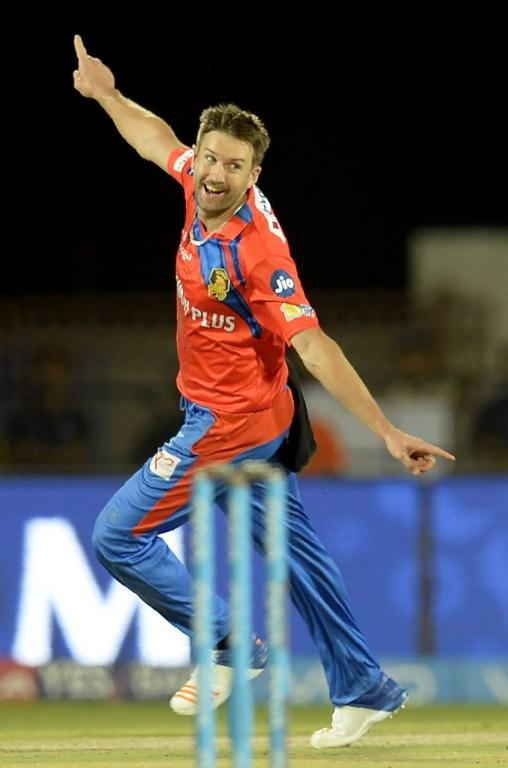 <p>Gujarat Lions cricketer Andrew Tye celebrates after taking the wicket of Rising Pune Supergiant batsman Ben Stokes during the 2017 Indian Premier League (IPL) Twenty20 cricket match between Gujarat Lions and Rising Pune Supergiant at The Saurashtra Cricket Association Stadium in Rajkot on April 14, 2017. ——IMAGE RESTRICTED TO EDITORIAL USE – STRICTLY NO COMMERCIAL USE—– / GETTYOUT—— / AFP PHOTO / PUNIT PARANJPE / —-IMAGE RESTRICTED TO EDITORIAL USE – STRICTLY NO COMMERCIAL USE—– / GETTYOUT </p>