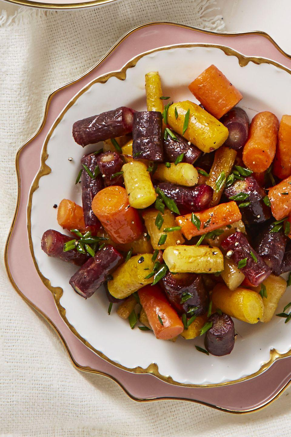 "<p>When in doubt, add butter (and a dash of chives). </p><p><em><a href=""https://www.goodhousekeeping.com/food-recipes/a43670/butter-glazed-rainbow-carrots-recipe/"" rel=""nofollow noopener"" target=""_blank"" data-ylk=""slk:Get the recipe for Butter-Glazed Rainbow Carrots »"" class=""link rapid-noclick-resp"">Get the recipe for Butter-Glazed Rainbow Carrots »</a></em></p>"
