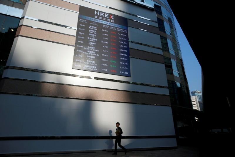 FILE PHOTO: A panel displays a list of top active securities outside the Hong Kong Exchanges in Hong Kong