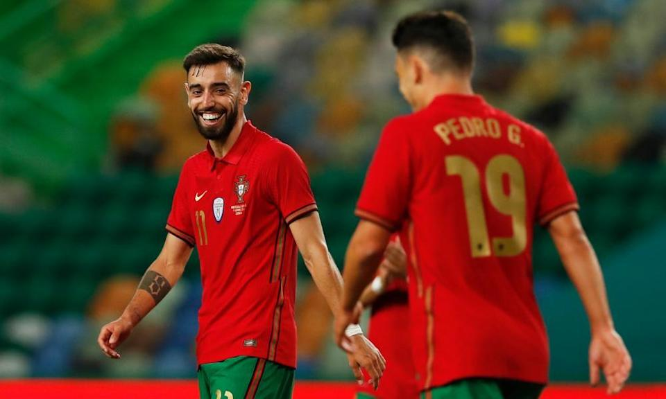 Bruno Fernandes smiles after scoring one of his two goals for Portugal against Israel in a pre-Euro 2020 friendly.