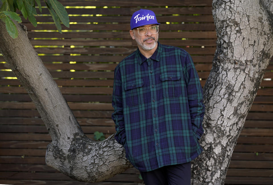 """Comedian Jo Koy poses for a portrait in Los Angeles on March 2, 2021, to promote his book """"Mixed Plate: Chronicles of an All-American Combo."""" (AP Photo/Chris Pizzello)"""