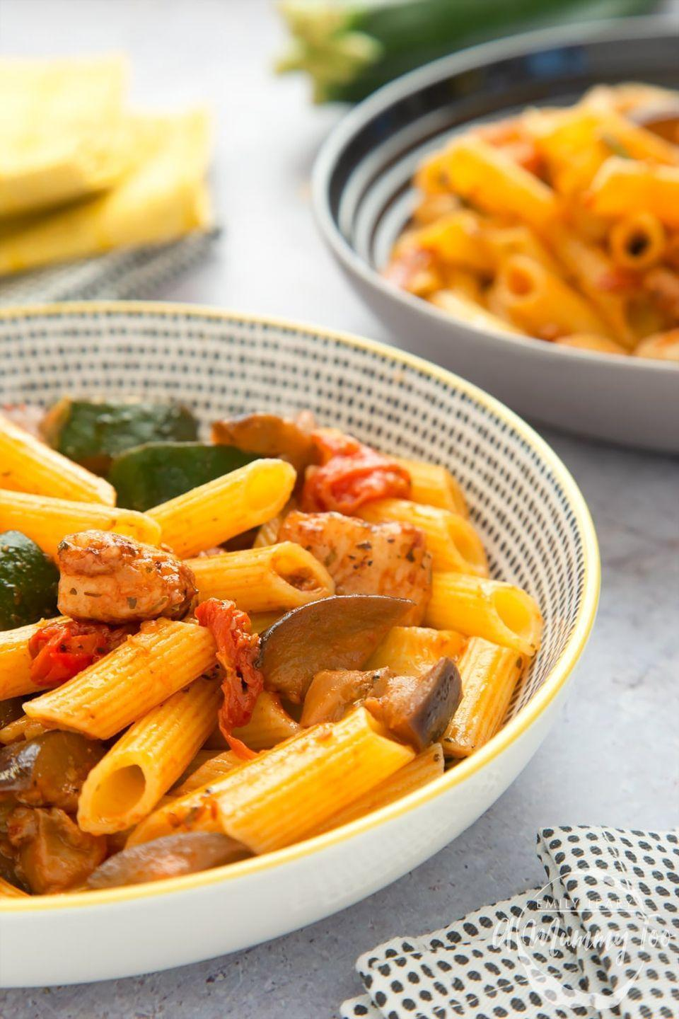"""<p>Halloumi, courgette, aubergine and fresh cherry tomatoes make this the best kind of dinner to come home to. </p><p>Get the <a href=""""https://www.amummytoo.co.uk/cypriot-inspired-intensely-flavourful-halloumi-pasta/"""" rel=""""nofollow noopener"""" target=""""_blank"""" data-ylk=""""slk:Cypriot-Inspired Halloumi Pasta"""" class=""""link rapid-noclick-resp"""">Cypriot-Inspired Halloumi Pasta</a> recipe.</p><p>Recipe from <a href=""""https://www.amummytoo.co.uk/"""" rel=""""nofollow noopener"""" target=""""_blank"""" data-ylk=""""slk:A Mummy Too"""" class=""""link rapid-noclick-resp"""">A Mummy Too</a>.</p>"""