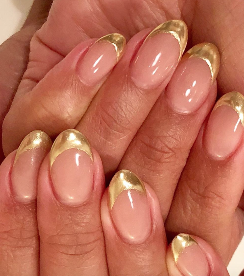 On the other hand (ha!), go for gold tips. It makes a French feel way more luxe, and a sophisticated gold looks a bit more modern.