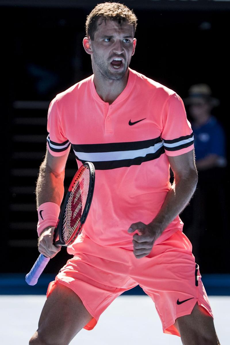 Grigor Dimitrov got the same treatment for his hot pink Aus Open get-up