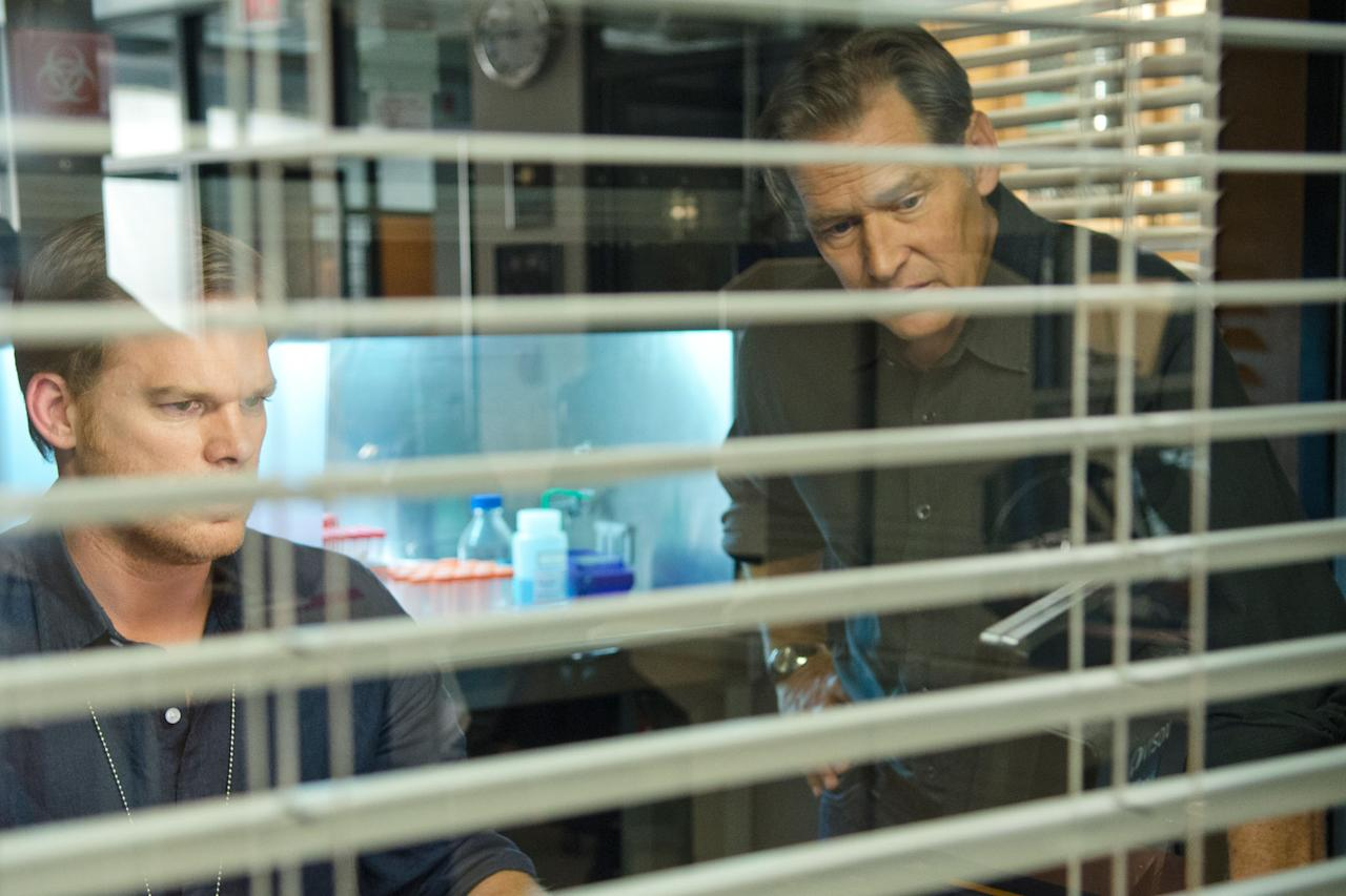 """James Remar as Harry Morgan and Michael C. Hall as Dexter Morgan in the """"Dexter"""" Season 8 episode, """"Make Your Own Kind of Music."""""""