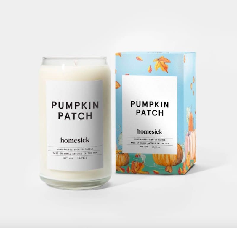 """<p>Cue the hay rides, corn mazes, and warm apple cider—this scented candle evokes the annual visit to the pumpkin patch. </p> <p><strong>To buy: </strong>$30, <a href=""""https://homesick.com/products/pumpkin-patch-candle"""" target=""""_blank"""">homesick.com</a>. </p>"""