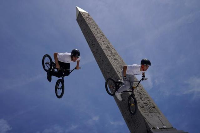 Place de la Comcorde may host a string of urban sports at the 2024 Games in Paris, here BMX riders perform in front of the Luxor Obelisk (AFP Photo/Kenzo TRIBOUILLARD)