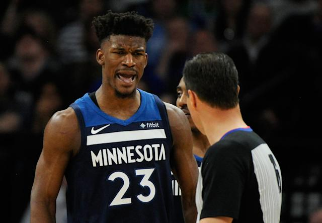"<a class=""link rapid-noclick-resp"" href=""/nba/players/4912/"" data-ylk=""slk:Jimmy Butler"">Jimmy Butler</a> has requested a trade away from the <a class=""link rapid-noclick-resp"" href=""/nba/teams/min"" data-ylk=""slk:Minnesota Timberwolves"">Minnesota Timberwolves</a>. (Getty)"