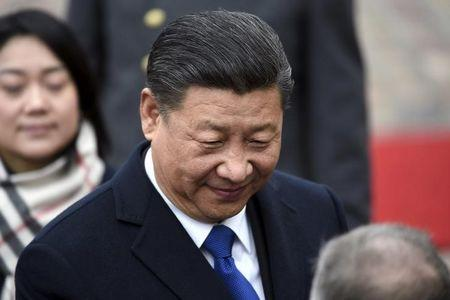 China's President Xi Jinping during the official welcoming ceremony in front of the Presidential Palace, in Helsinki