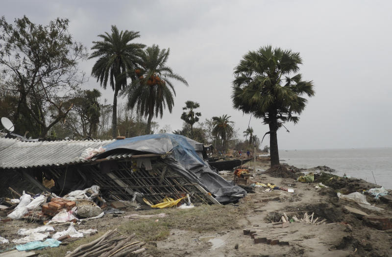This May 22, 2020 photo shows the damage caused by Cyclone Amphan in Deulbari village, in South 24 Parganas district in the Sundarbans, West Bengal state, India. The cyclone that struck India and Bangladesh last month passed through the Sundarbans, devastating the islands that are home to one of the world's largest mangrove forests and is a UNESCO world heritage site. (Samrat Paul via AP)