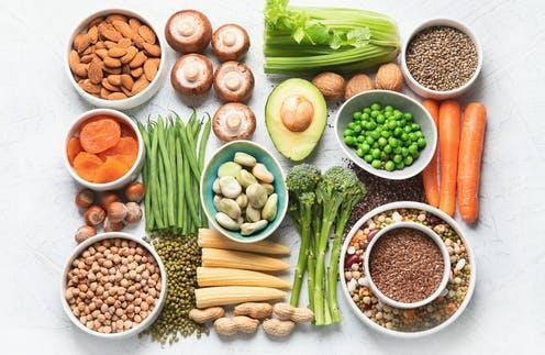 """<span class=""""caption"""">A well-planned, plant-based diet can support good health at every age.</span> <span class=""""attribution""""><a class=""""link rapid-noclick-resp"""" href=""""https://www.shutterstock.com/image-photo/food-sources-plant-based-protein-healthy-1433742398"""" rel=""""nofollow noopener"""" target=""""_blank"""" data-ylk=""""slk:Tatjana Baibakova/ Shutterstock"""">Tatjana Baibakova/ Shutterstock</a></span>"""