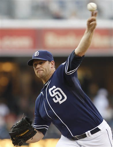 San Diego Padres starting pitcher Eric Stults works the first inning against the San Francisco Giants during a baseball game Saturday, Sept. 29, 2012, in San Diego. (AP Photo/Lenny Ignelzi)