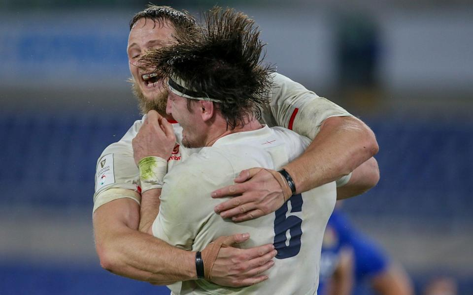 Jonny Hill and Tom Curry celebrate England's victory over Italy - GETTY IMAGES