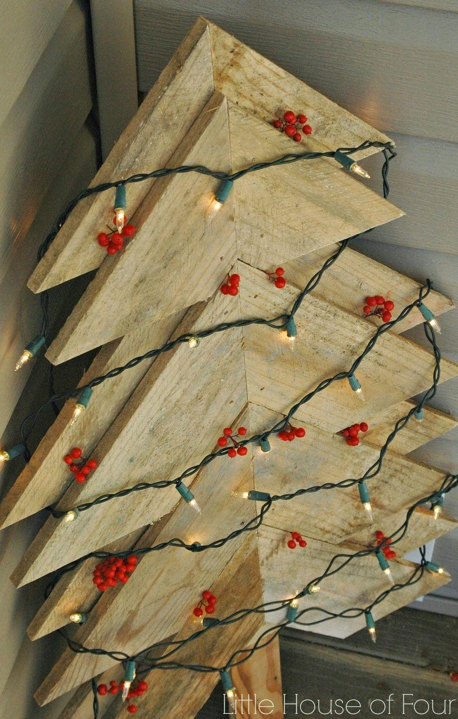 """<p>Created specifically as outdoor decor, this two-layer pallet Christmas tree is made from little else than wood and nails. You'll have it whipped up in no time!</p><p><strong>Get the tutorial at <a href=""""https://www.littlehouseoffour.com/2014/12/large-rustic-pallet-christmas-tree.html"""" rel=""""nofollow noopener"""" target=""""_blank"""" data-ylk=""""slk:Little House of Four"""" class=""""link rapid-noclick-resp"""">Little House of Four</a>.</strong></p><p><a class=""""link rapid-noclick-resp"""" href=""""https://www.amazon.com/Electric-Upholstery-Carpentry-Woodworking-Including/dp/B085XYTSM9/ref=sr_1_1_sspa?tag=syn-yahoo-20&ascsubtag=%5Bartid%7C10050.g.23322271%5Bsrc%7Cyahoo-us"""" rel=""""nofollow noopener"""" target=""""_blank"""" data-ylk=""""slk:SHOP NAIL GUNS"""">SHOP NAIL GUNS</a><br></p>"""