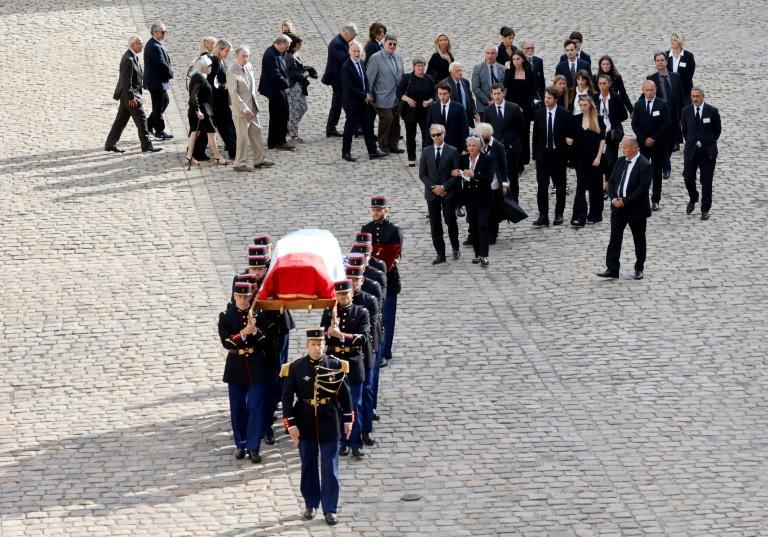 Relatives attended the ceremony, in which the French Republican guards sang 'La Marseillaise' in Belmondo's honour (AFP/Ludovic MARIN)