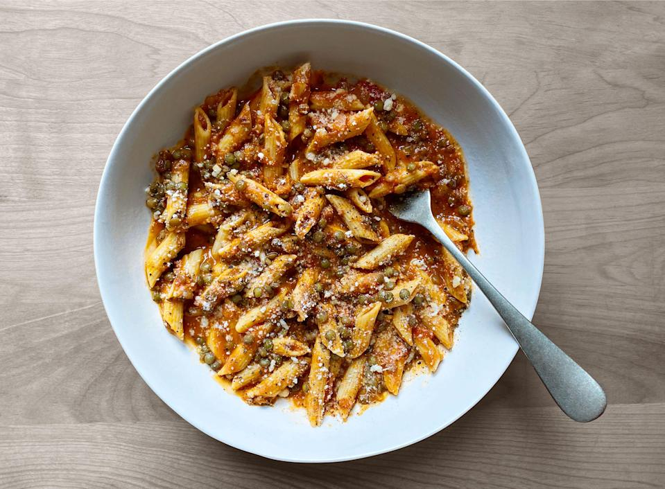 """Bacon is the savory baseline that binds this hearty <a href=""""https://www.epicurious.com/expert-advice/pot-of-lentils-bolognese-celery-bowl-article?mbid=synd_yahoo_rss"""" rel=""""nofollow noopener"""" target=""""_blank"""" data-ylk=""""slk:all-pantry version"""" class=""""link rapid-noclick-resp"""">all-pantry version</a> of pasta bolognese together. <a href=""""https://www.epicurious.com/recipes/food/views/lentil-bolognese?mbid=synd_yahoo_rss"""" rel=""""nofollow noopener"""" target=""""_blank"""" data-ylk=""""slk:See recipe."""" class=""""link rapid-noclick-resp"""">See recipe.</a>"""