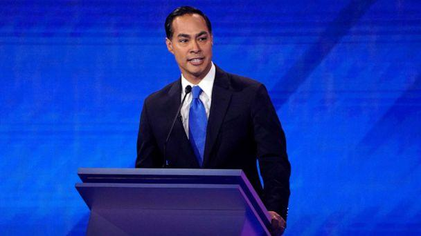 PHOTO: Former Housing Secretary Julian Castro speaks during the 2020 Democratic presidential debate in Houston, Sept. 12, 2019. (Mike Blake/Reuters)