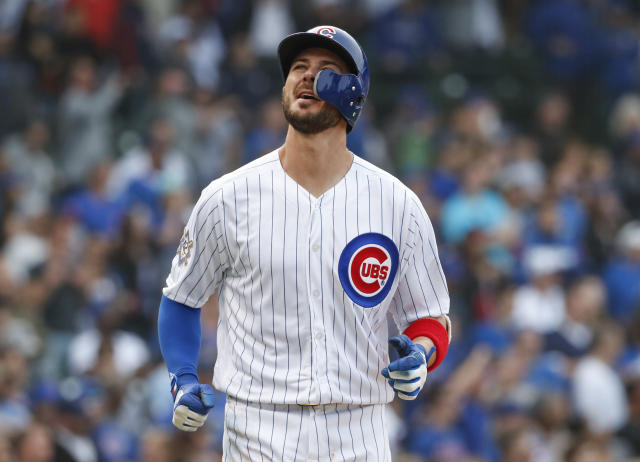 Chicago Cubs' Kris Bryant reacts after final strike out against Atlanta Braves' A.J. Minter during the ninth inning of a baseball game, Monday, May 14, 2018, in Chicago. (AP Photo/Kamil Krzaczynski)