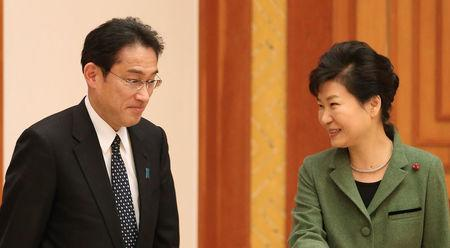 Japan's Foreign Minister Fumio Kishida (L) is greeted by South Korea's President Park Geun-hye at the Presidential Blue House in Seoul, South Korea, December 28, 2015. REUTERS/Baek Seung-ryol/Yonhap