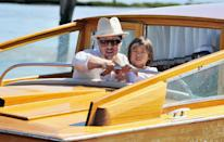 <p>Pitt and his adopted son, Pax Thien Jolie-Pitt, arrive in Venice for the film festival. The actor legally became Pax's father in 2008. </p>